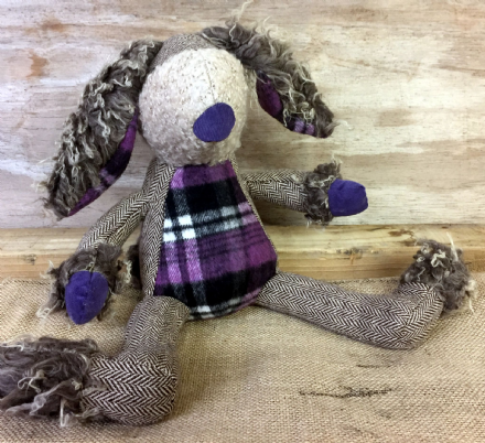 Quirky Floppy Ear Shaggy Hare Soft Toy Decoration ~ Purple Tartan